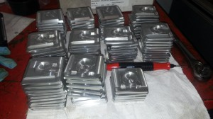 A typical run of custom sample holders for a high volume XRD operation. This user actually has a custom loading tool that allows for multiple holders to be filled simultaneously.